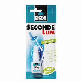 Bison secondelijm met kwast 5 gram.
